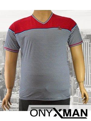 Ммъжка тениска с десен на райе Големи Размери