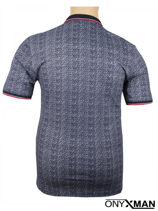 Макси поло тениска в синьо с бял принт