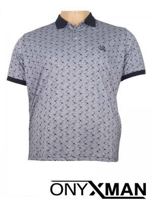 Макси тениска в сиво с яка
