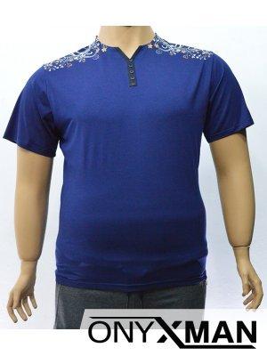 Мъжка тениска с флорални орнаменти върху раменете Големи размери