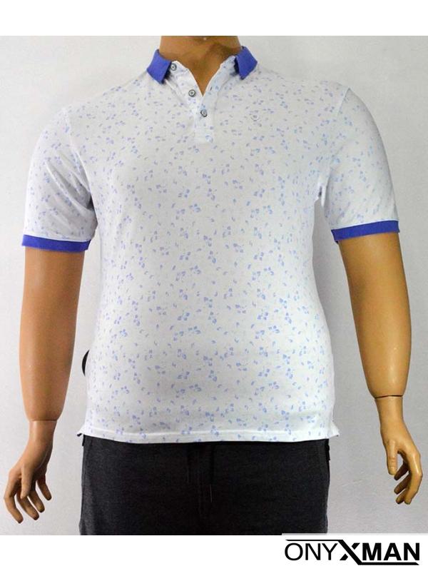Мъжка тениска с яка в бяло