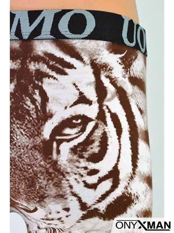 Мъжки боксер с щампа на тигър в кафяво