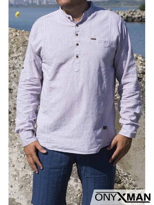 Спортно-елегантна мъжка риза с навиващи се ръкави