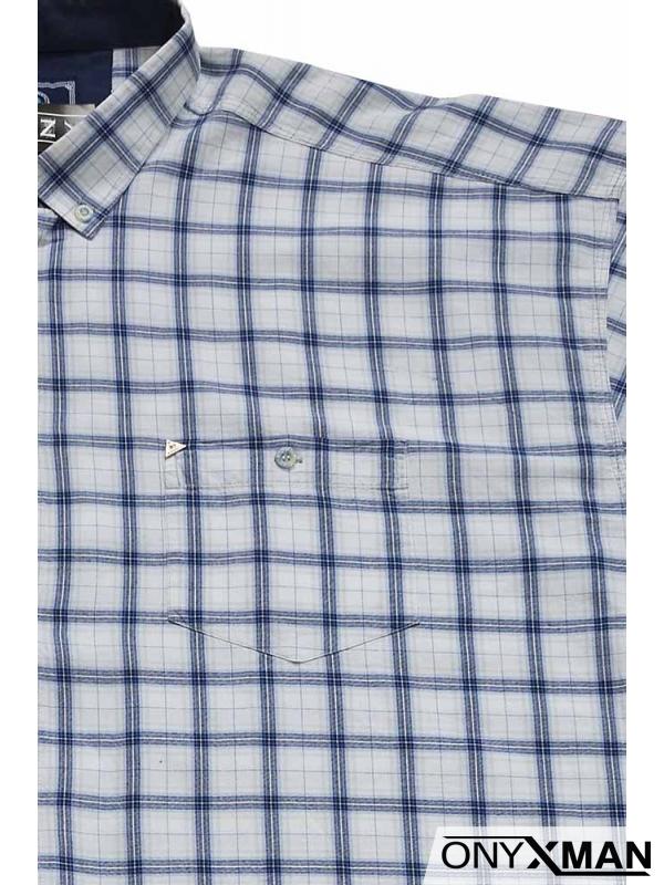 Мъжка риза с къс ръкав в бяло
