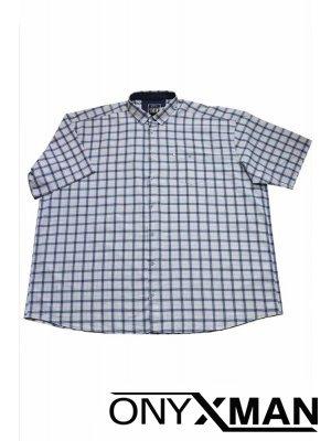 Мъжка риза с къс ръкав в бяло Големи размери