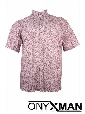 Модерна мъжка риза в бяло Големи размери