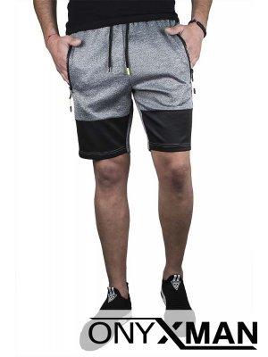 Сиви къси спортни панталони с двуцветна предница
