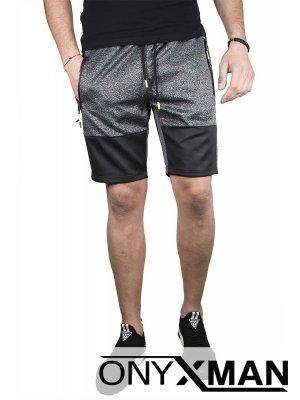 Тъмно сиви къси панталони с двуцветна предница