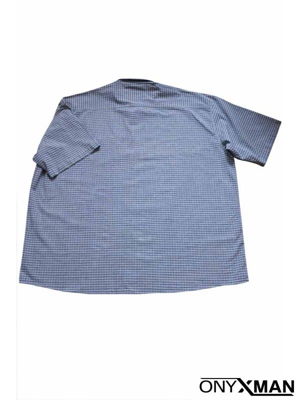 Стилна мъжка риза в синьо и бяло каре