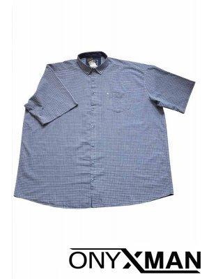 Стилна мъжка риза в синьо и бяло каре Големи Размери