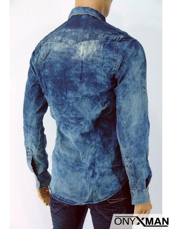 Дънкова мъжка риза с джобове