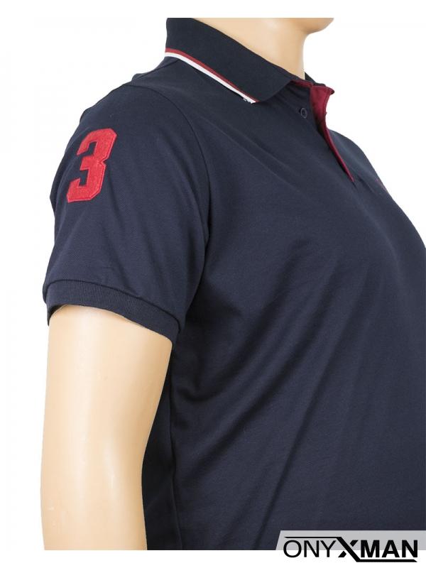 Макси поло тениска в тъмно синьо