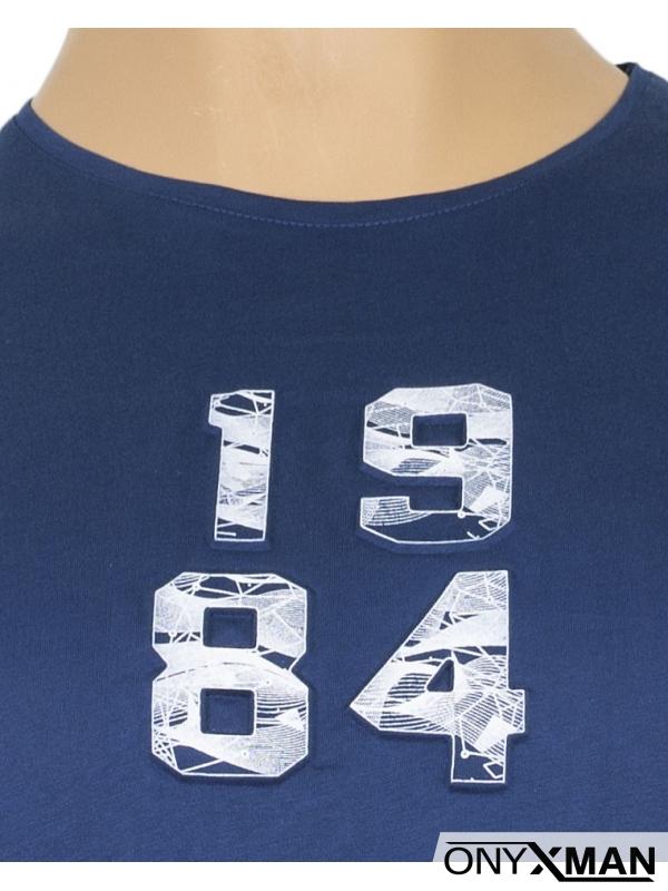 Макси тениска в цвят индиго с цифри