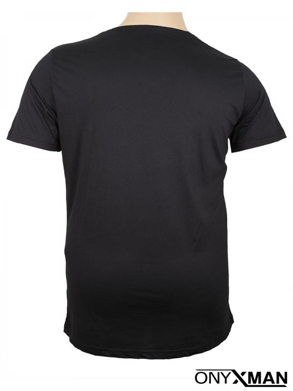 Макси тениска в черен цвят с принт