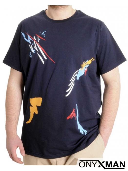 Макси тениска в тъмно син цвят с принт