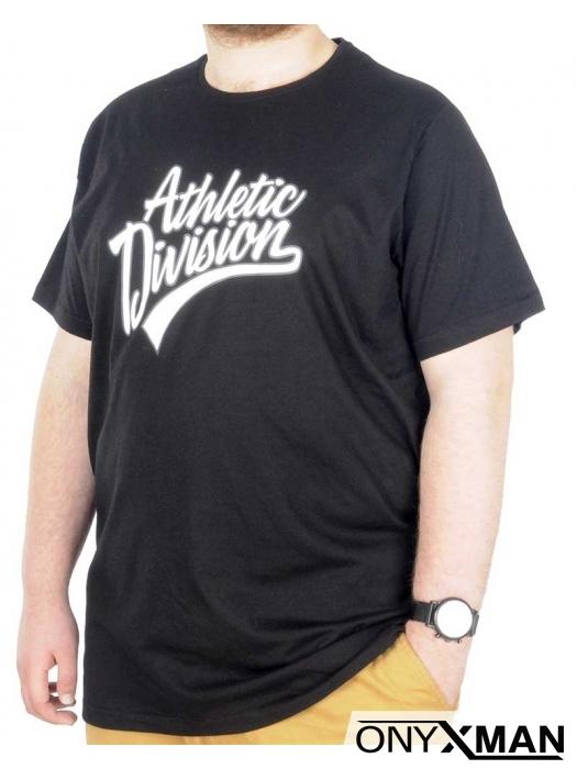 Макси тениска в черно с бял принт