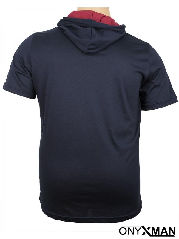 Макси тениска с качулка в тъмно синьо