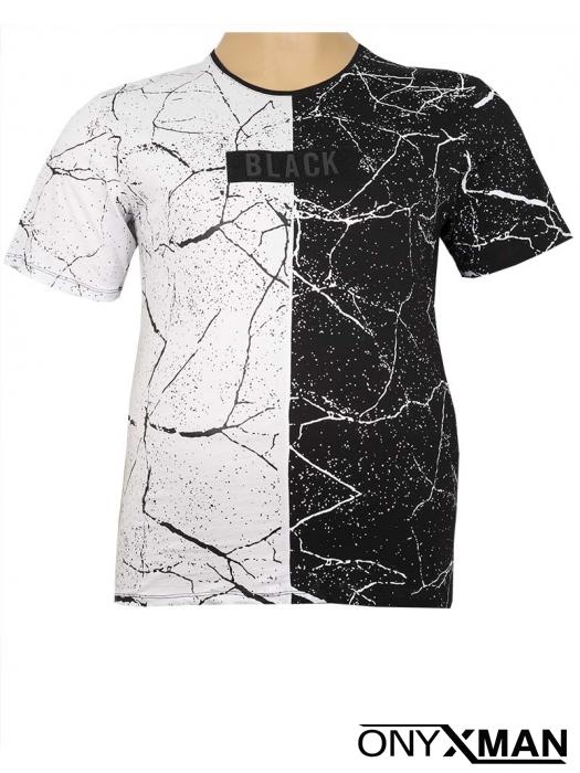 Макси двуцветна тениска с пръски боя