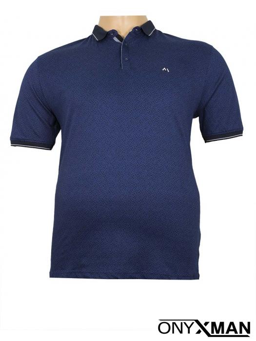 Макси поло тениска в син цвят с черен принт