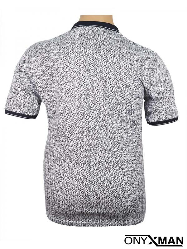 Макси поло тениска в бяло с тъмно син принт