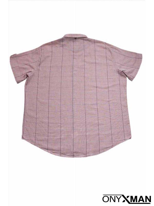 Мъжка риза с къс ръкав в бледо розово
