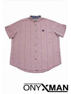 Мъжка риза с къс ръкав в бледо розово Големи размери