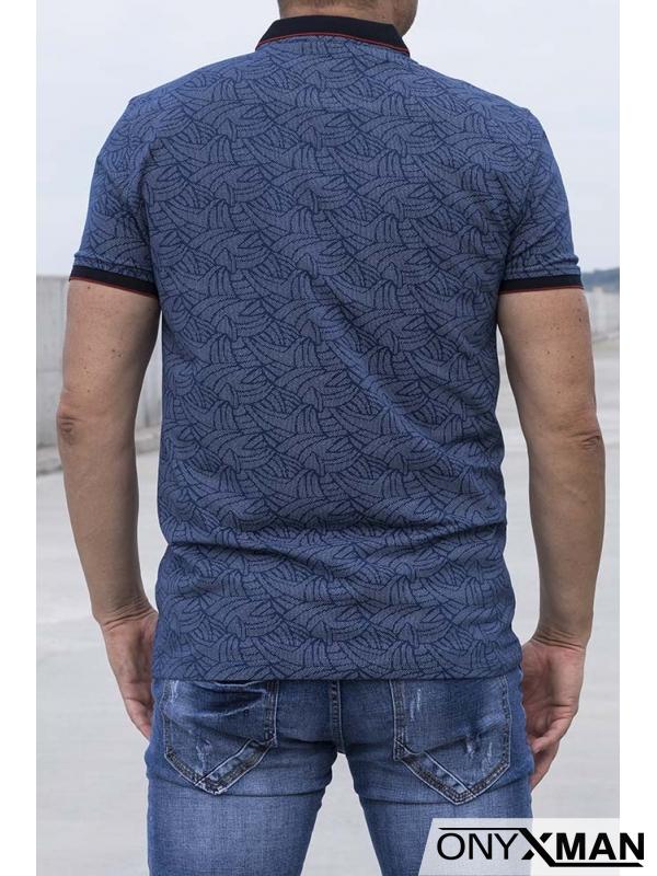 Стилна тениска с яка в индиго синьо