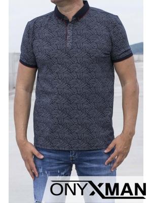 Стилна тениска с яка в тъмно синьо