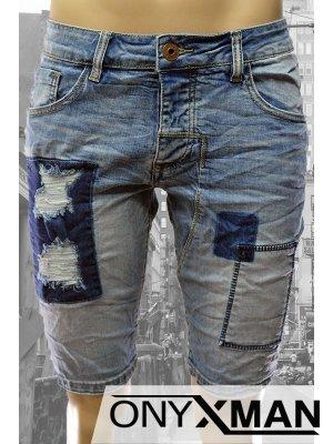 Модерни къси мъжки дънки с кръпки