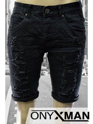 Къси мъжки дънки деним в черно