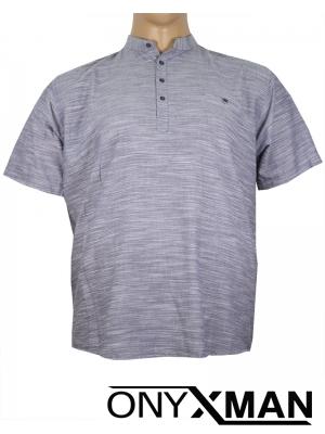 Макси ленена риза с къс ръкав в сиво