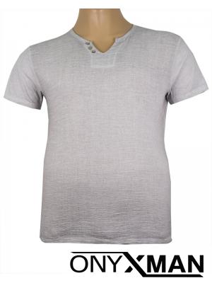 Тениска с три копченца в сиво Големи размери