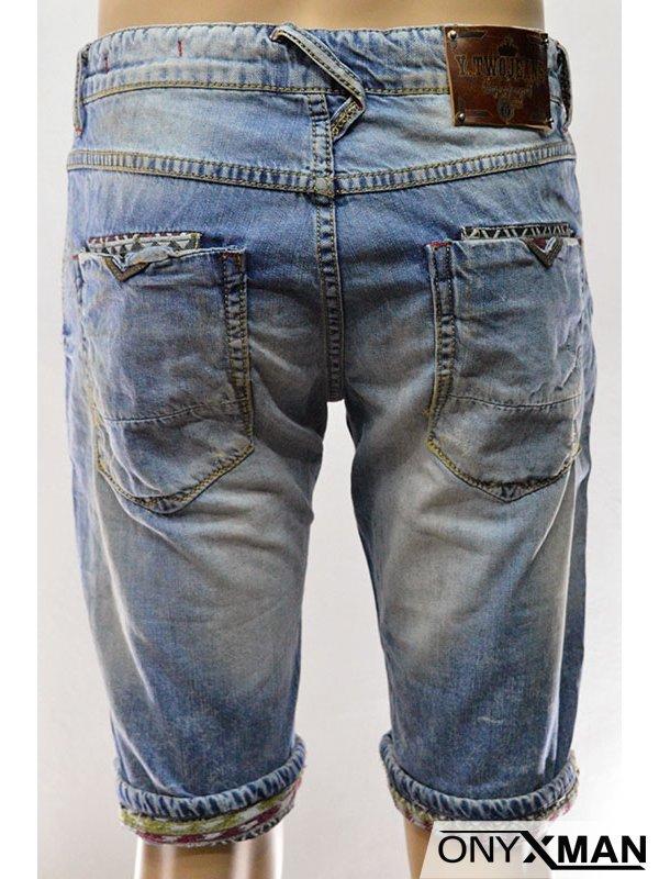 Модерни къси мъжки дънки с индиански мотиви