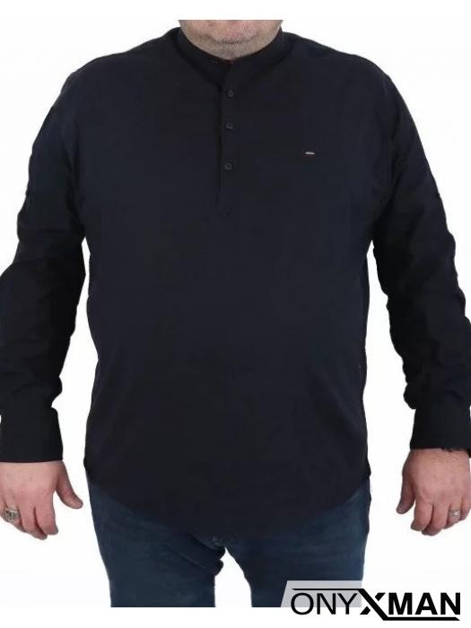 Черна Макси риза с дълъг ръкав с попска яка
