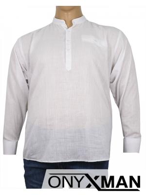 Макси ленена риза в бяло