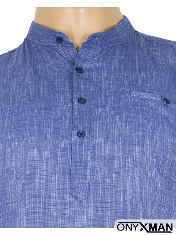Макси ленена риза в синьо