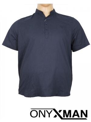 Мъжка риза в тъмно син цвят с попска яка Големи размери