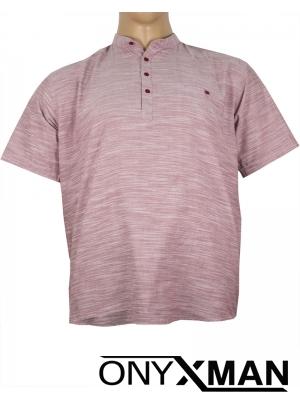 Макси ленена риза с къс ръкав в бордо