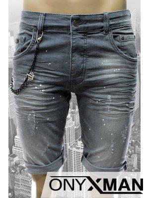Модерни мъжки къси дънки на пръски