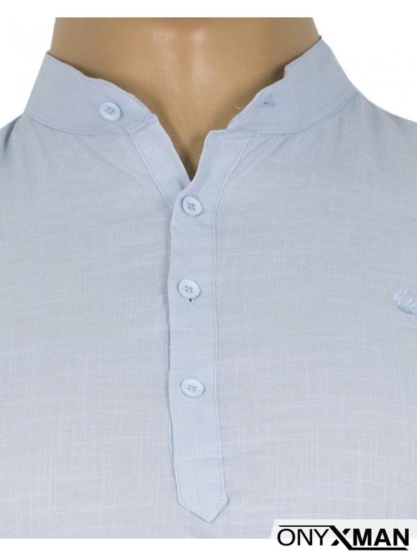 Мъжка риза в светло син цвят с попска яка Големи размери