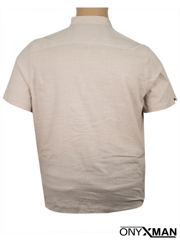 Мъжка риза в бежов цвят с попска яка Големи размери