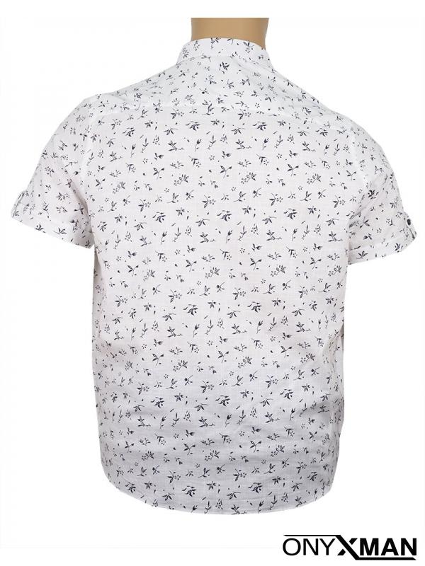 Макси риза с къс ръкав в бял цвят