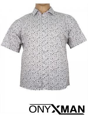Риза с къс ръкав в бял цвят Големи размери