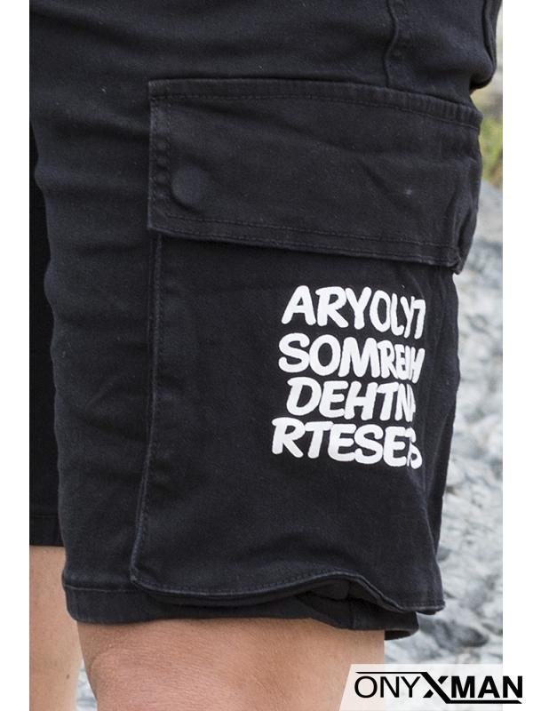 Къси черни дънки с карго джобове и надписи