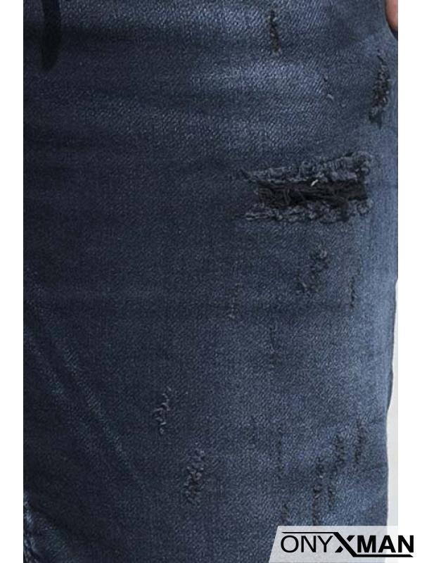 Тъмно сини къси дънки с връзки