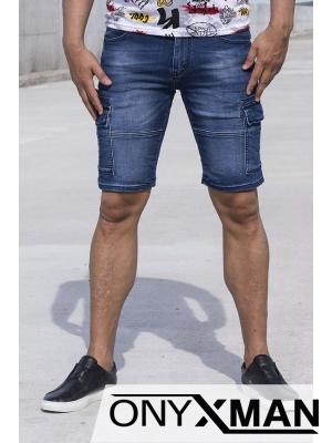 Къси сини дънки с карго джобове