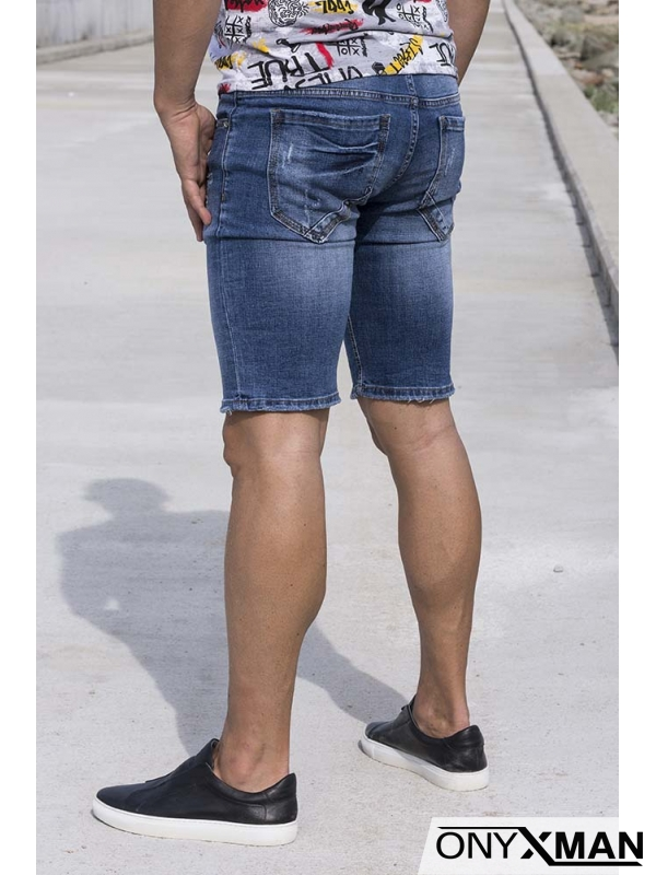 Сини къси дънки с кръпки