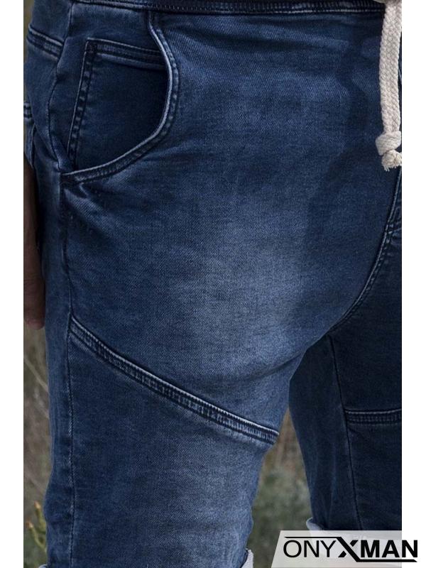 Къси сини дънки с ластик и връзки