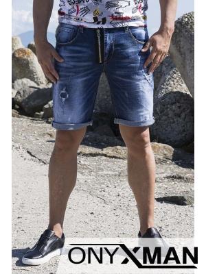 Къси сини дънки с декоративен цип