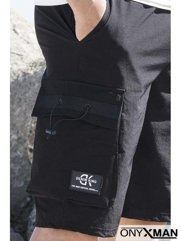 Къси черни панталони с карго джобове